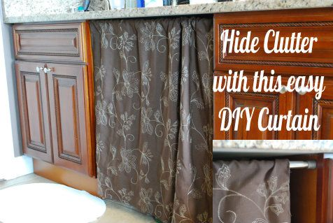 Diy Under The Sink Curtain Hide The Clutter The Cute Way Kitchen Curtains Diy Diy Curtains Kitchen Sink Diy