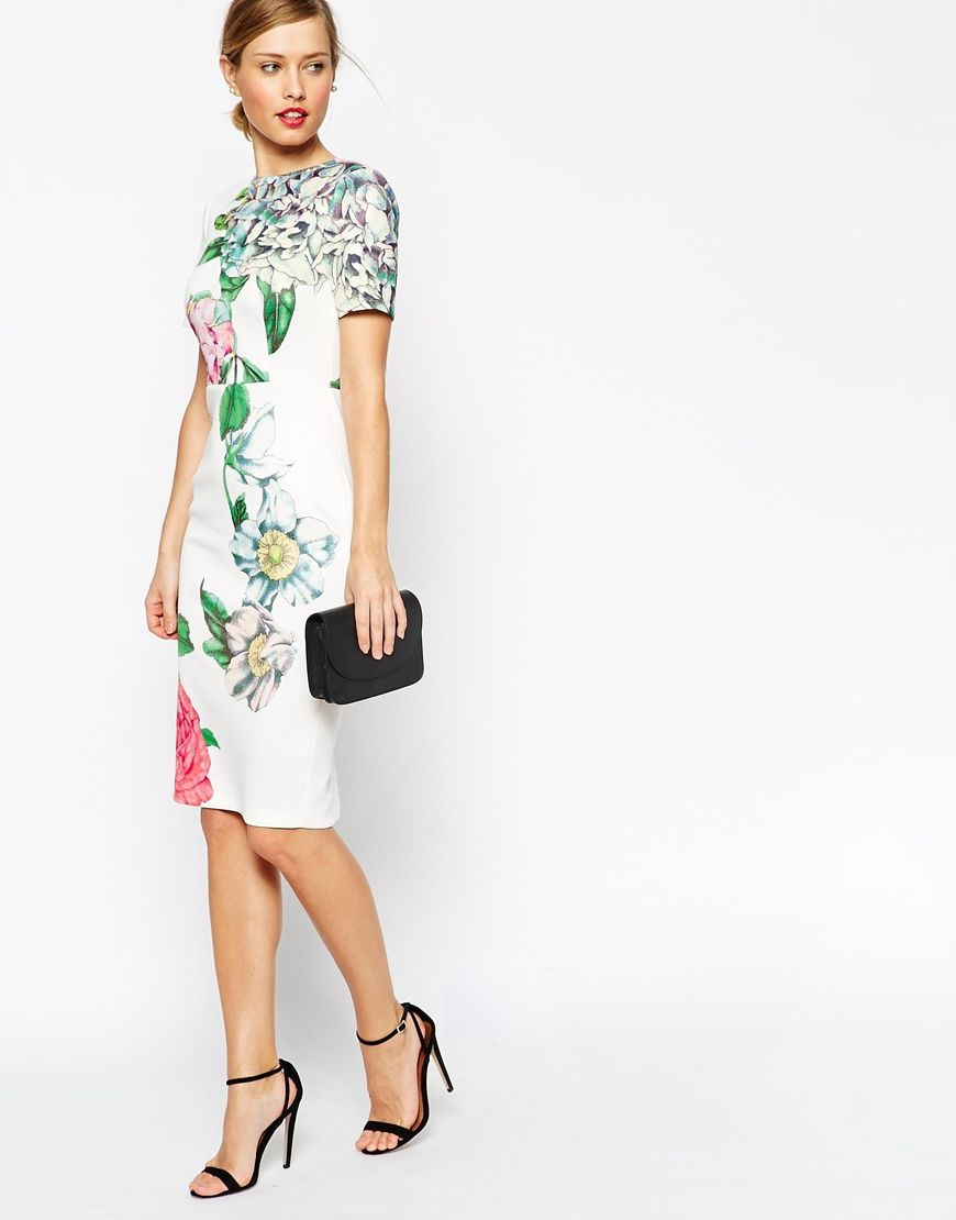 Premium Placed Crayon Floral Body-Conscious Dress