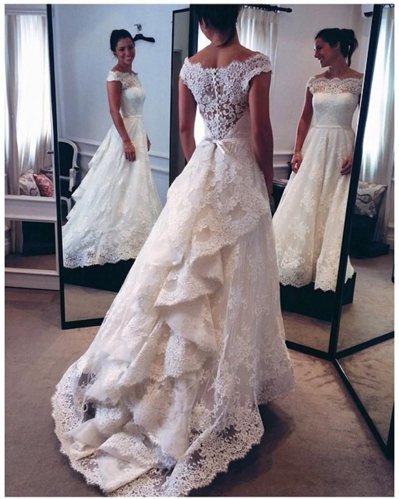 Wedding dress train bustle  Vintage White Ivory Lace Bridal Wedding Dresses Ruffle Sweep Train