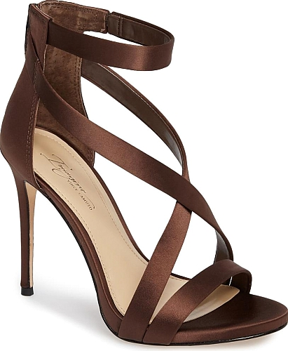 cc890dd2c7b Women s Imagine Vince Camuto  Devin  Sandal in Dark Chocolate Satin. An  alluring strappy sandal is given a daring lift by an ultra-slender stiletto  heel.