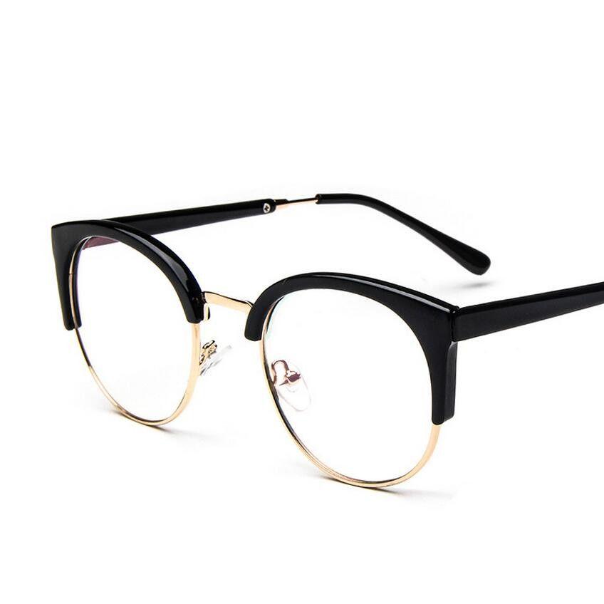 f6fc595102 women s eye glasses frame men Vintage metal round half framed Brand design eyeglasses  Myopia Glasses pectacles