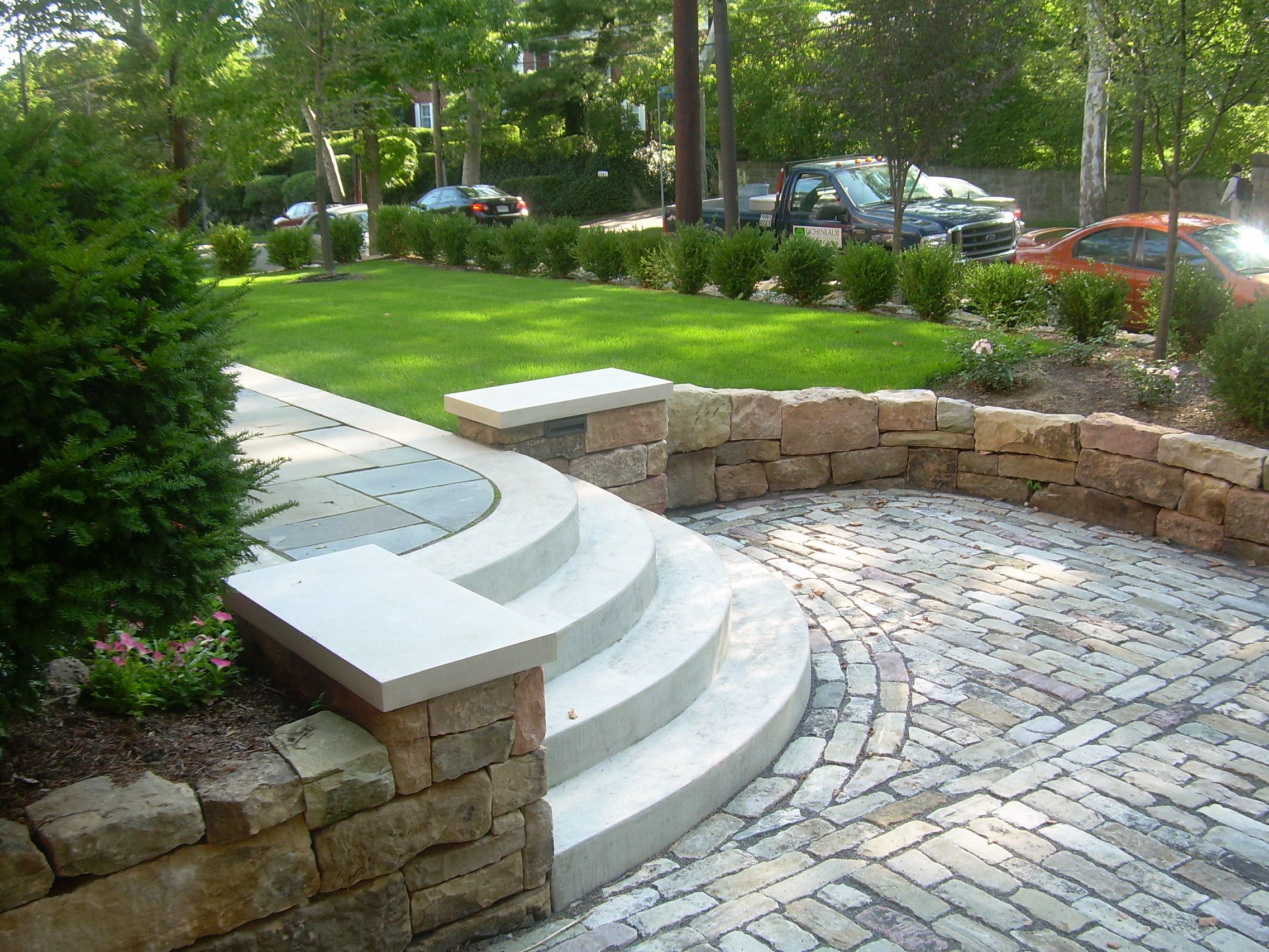 Poured concrete steps with barnstone walls, Belgian block ... on Life Outdoor Living Block id=60511