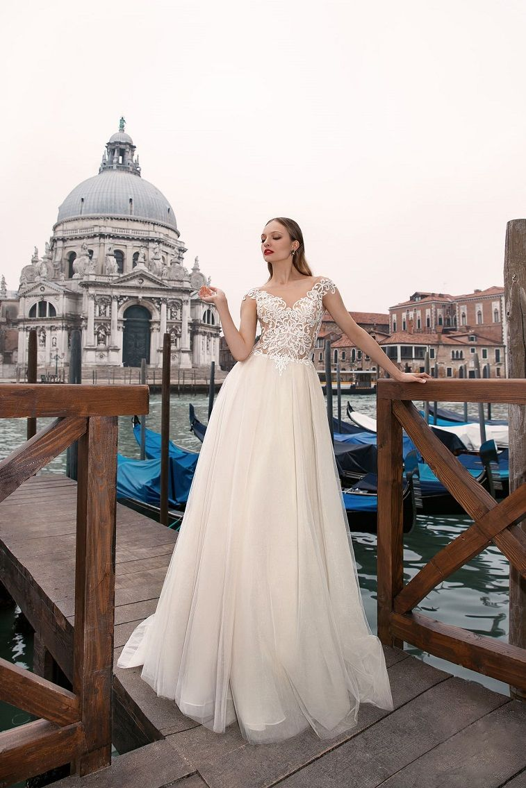 Anna Sposa Wedding Dresses - Venice Bridal Collection cap sleeves a line wedding dress #weddingdress wedding gown ,wedding dress