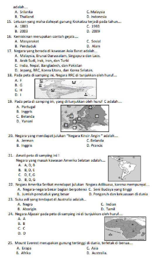 Soal Uas Ips Kelas 4 Semester 1 Dan Kunci Jawaban