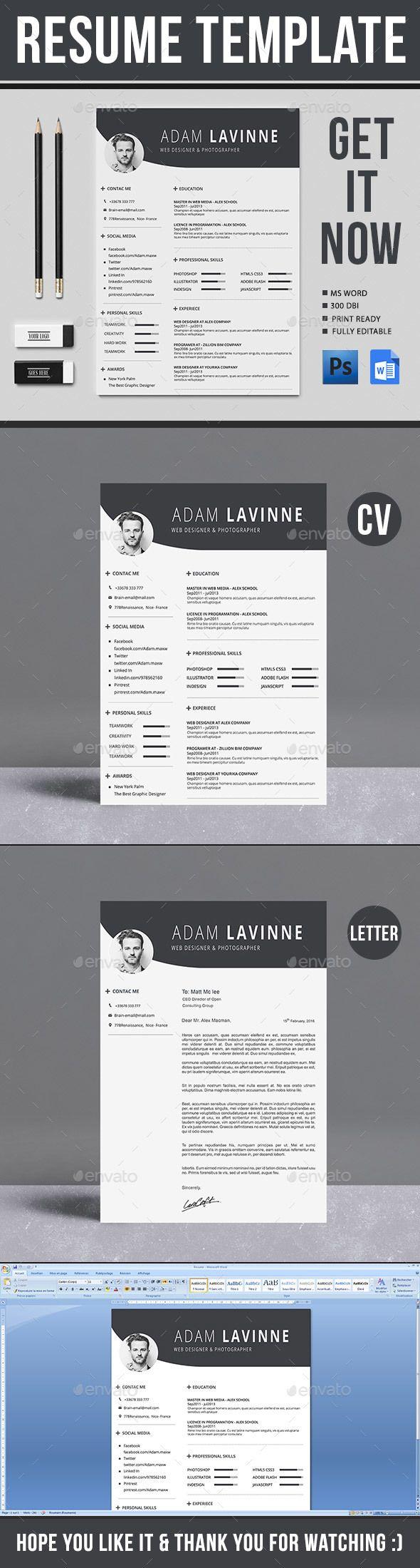 Resume Template Cv Template Resume Cv And Modern Resume Template