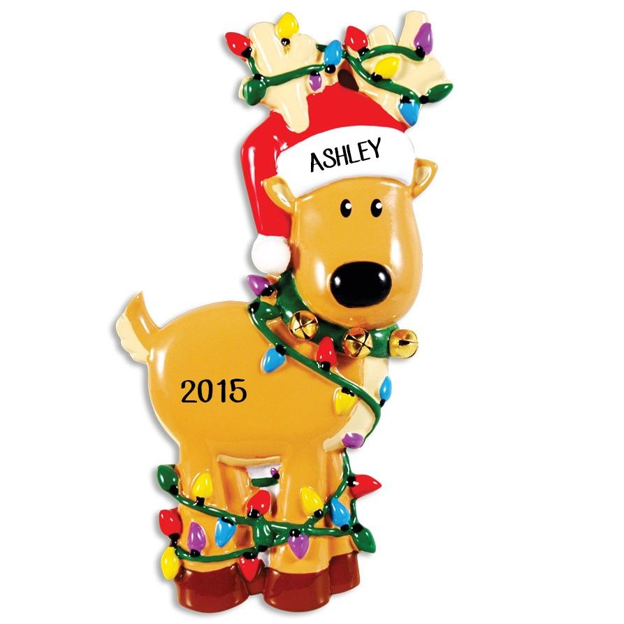 Deer Tangled In Lights Personalized Christmas Ornament