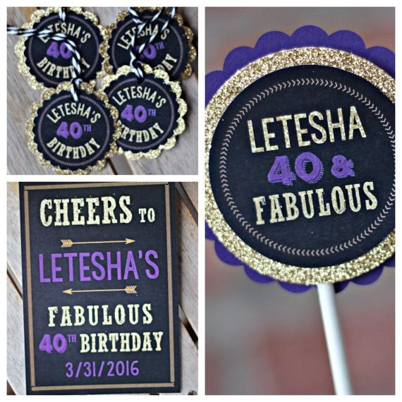 Ladies 40th Birthday Party decoration Purple Black Gold