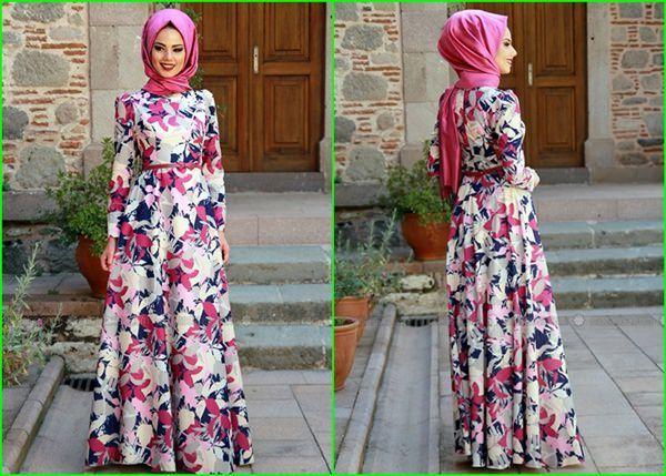 Mevra Emprime Baskili Tesettur Elbise Elbise Moda Stilleri Elbise Modelleri