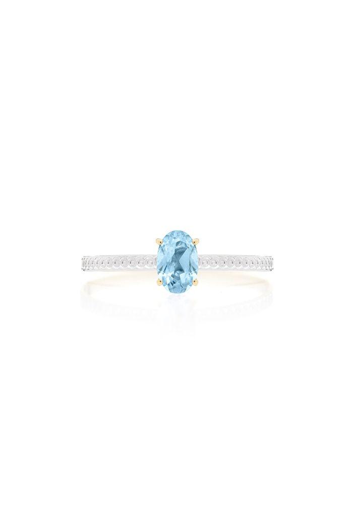 9de4340cb33f2 Anel Encantada em ouro com topázio azul   acessórios   Pinterest