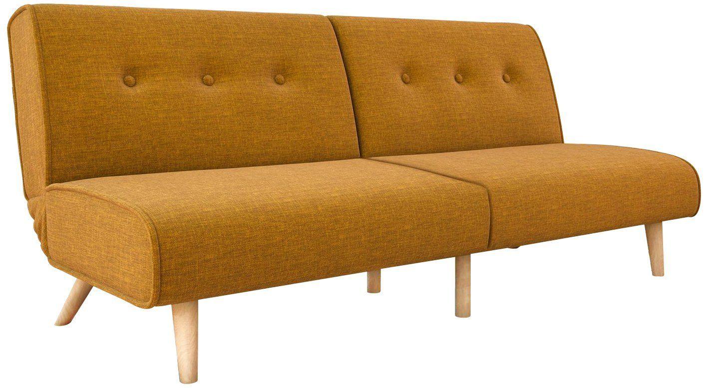 Springs convertible sofa sleeper in rich linen sturdy wooden legs