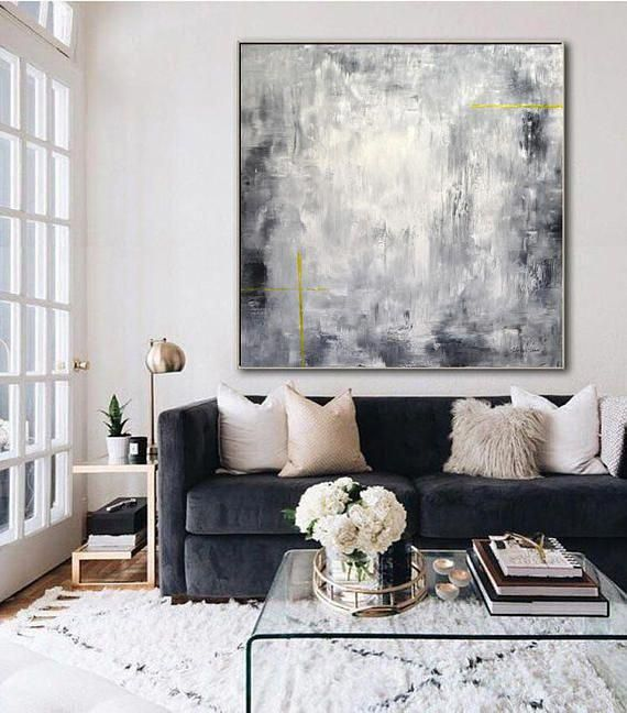 XXL 48 x 48 Large Original Abstract Painting Modern Minimal #luxurylivingroom #paintinglivingrooms