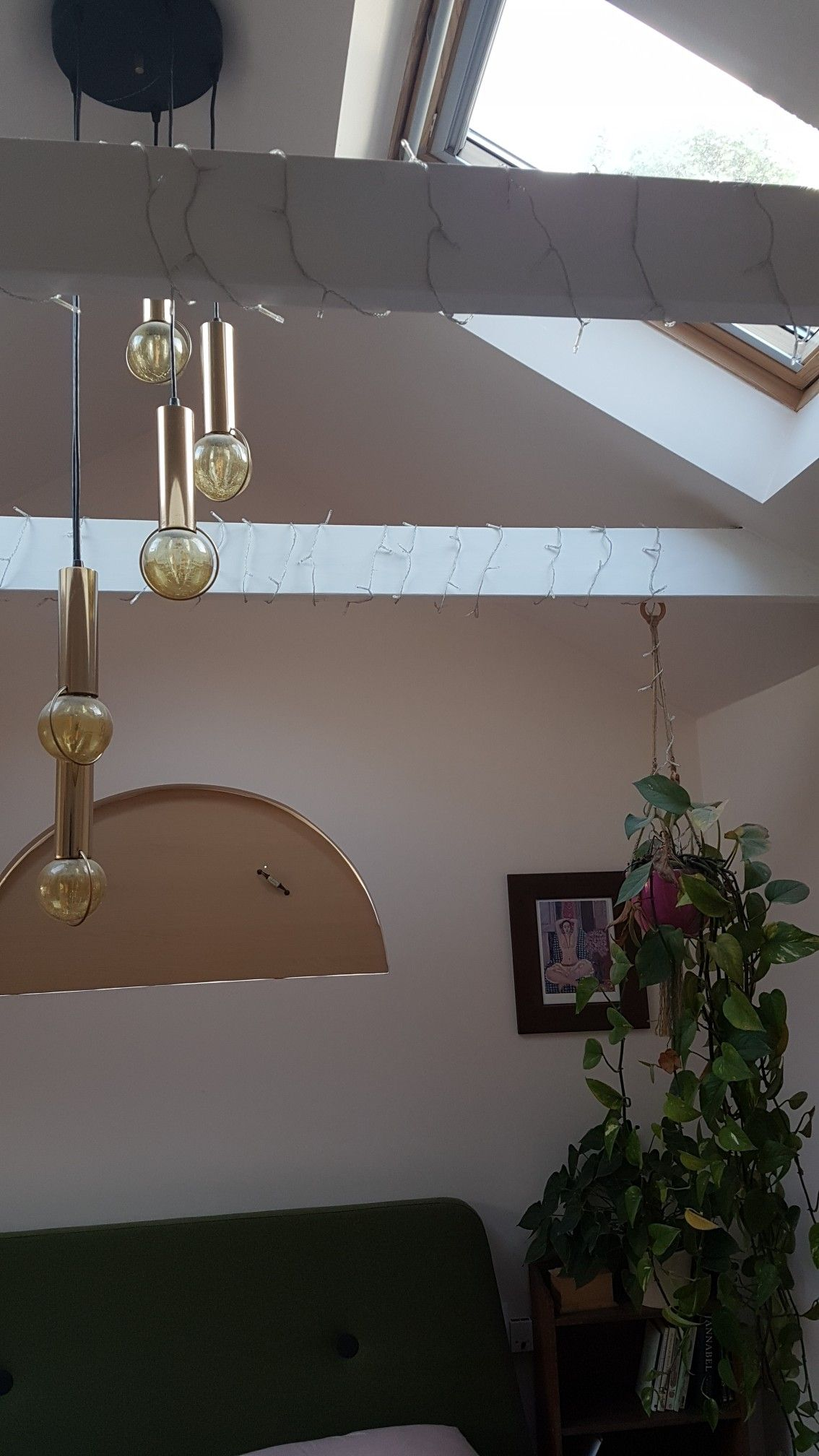 Loft Bedroom Beams Hanging Plant Arch Window