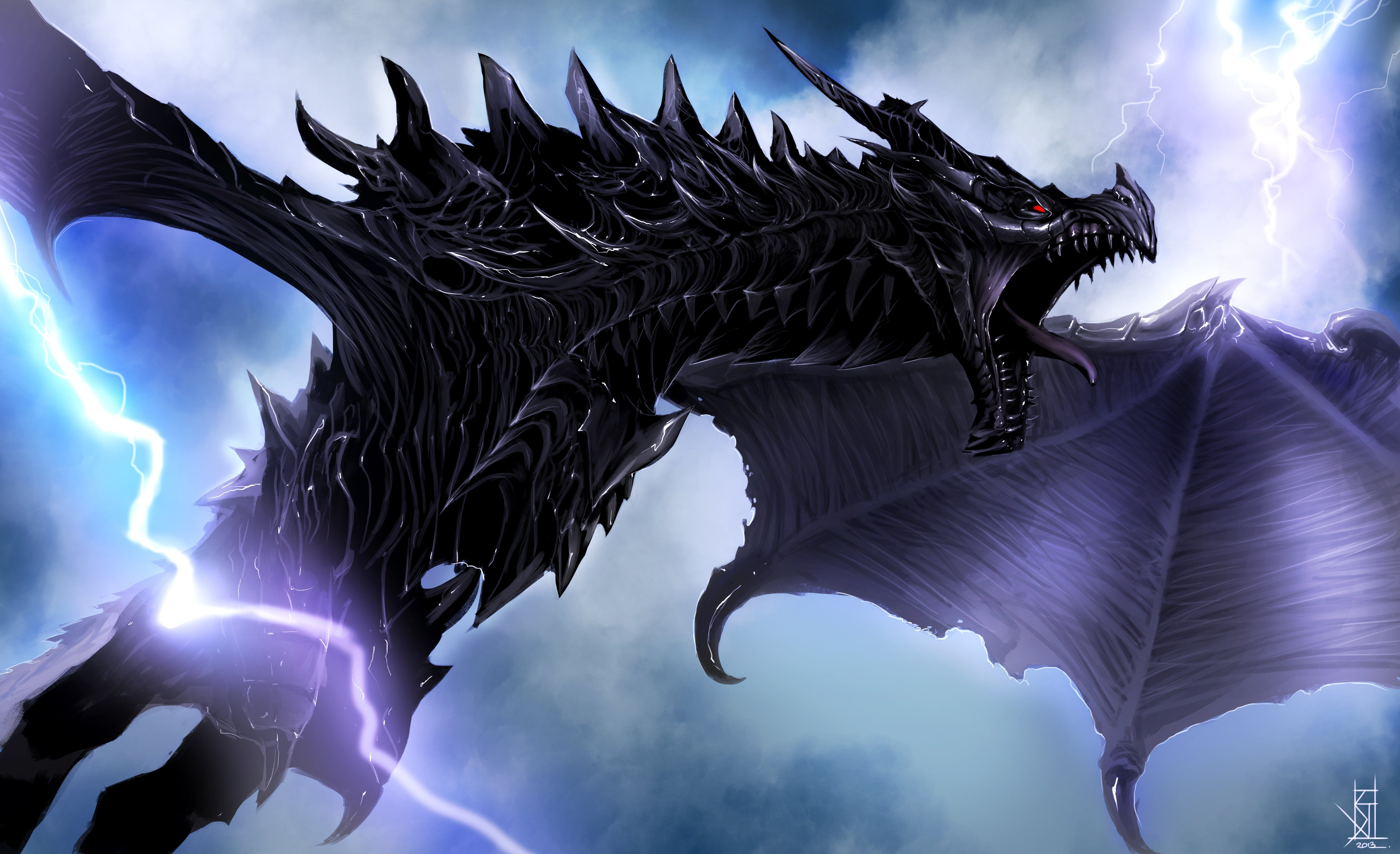 4k Skyrim Dragon Alduin 5k Wallpaper Hdwallpaper Desktop Skyrim Dragon Skyrim Wallpaper Lightning Dragon