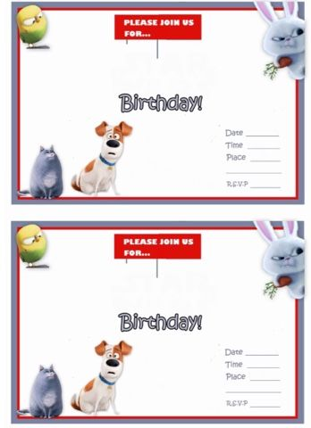 Secret Life Of Pets Free Printable Party Invites Secret Life Of Pets Animal Party Movie Birthday Party