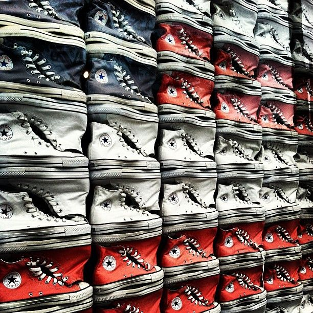 Photo by guccilvr12; So much fun and many possibilites with this #converse #displaywindow http://instagr.am/p/W5tGk1q9xG/ #shoes #design #tennisshoes #decor #red #blue