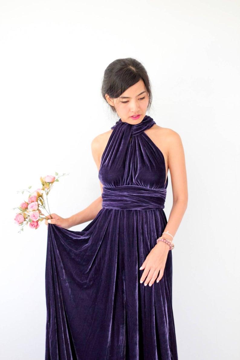 Dark Purple Velvet Dress Bridesmaid Dress Infinity Dress Etsy Purple Velvet Dress Bridesmaid Dresses Velvet Bridesmaid Dresses [ 1190 x 794 Pixel ]