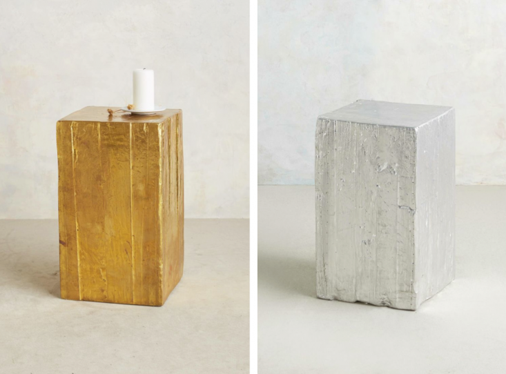 10 Easy Pieces Solid Block Side Tables Recycled Wood Washed In Silver Or Gold