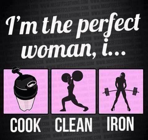 i am the perfect woman i cook clean and ironhahaha
