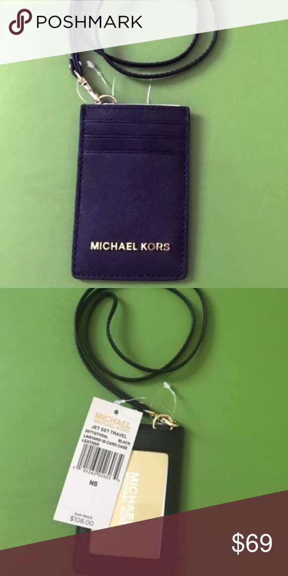 c5fa4a854694 Michael Kors ID Lanyard Badge Card Holder Black Michael Kors Jet Set Black  Lanyard Black Saffiano Leather Gold Lobster Claw Neck Piece (Removable) 16