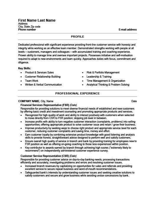 Financial Services Representative Resume Template Premium Resume - member service representative sample resume