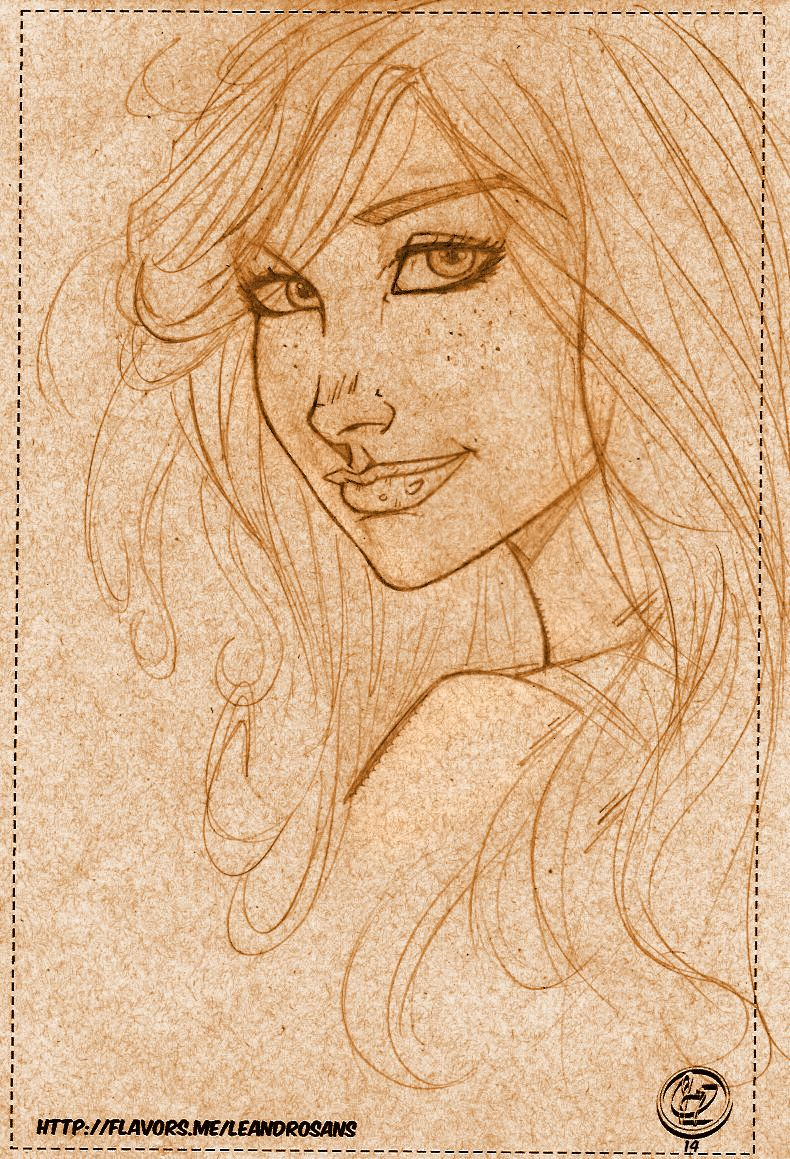Sketch study face woman cartoon style by Leandro Sans.