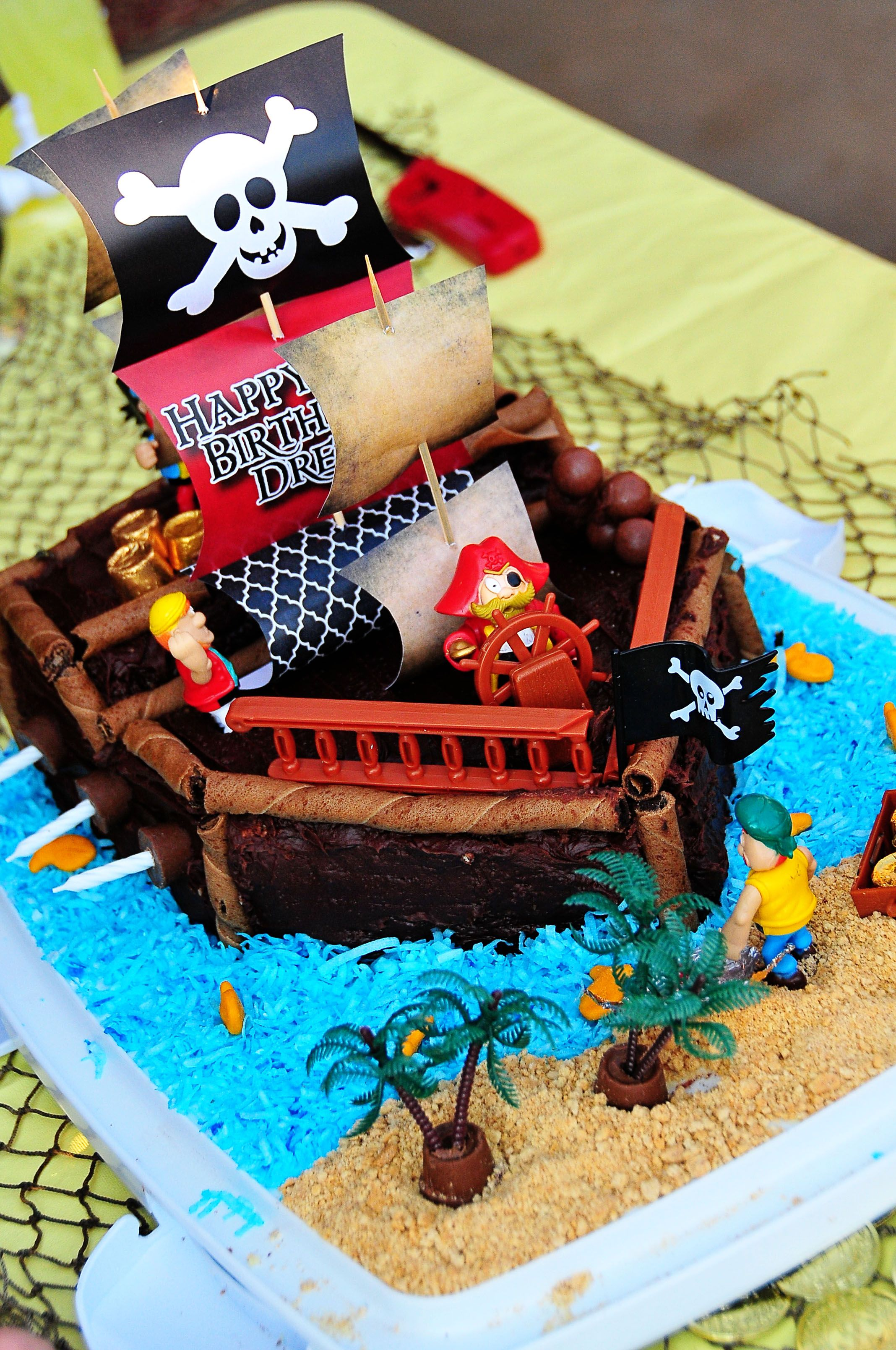 Pirate Cake 2 9x13 sheet cakes layered corners cut off for the