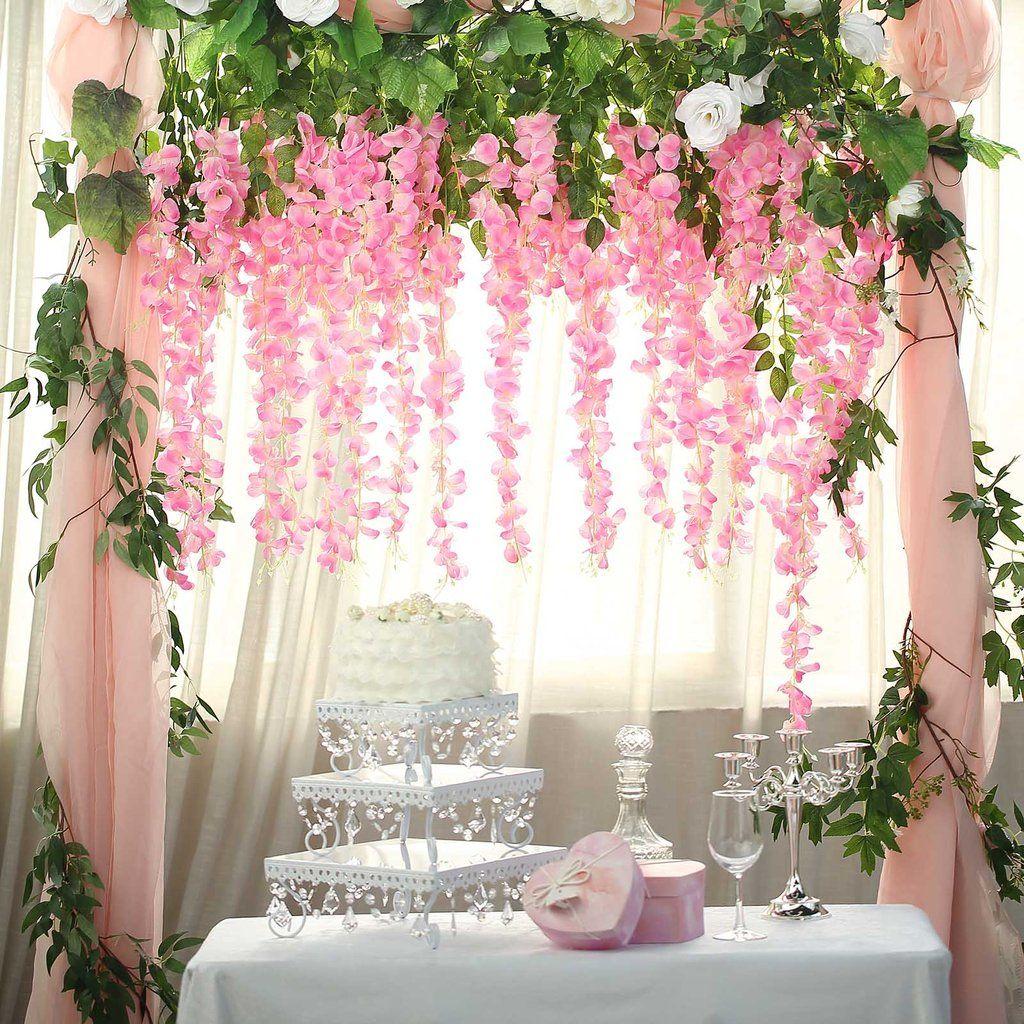 5 Bushes 44 Artificial Wisteria Vine Ratta Silk Hanging Flower Garland Pink In 2020 Garland Wedding Decor Hanging Garland Wedding Decorations