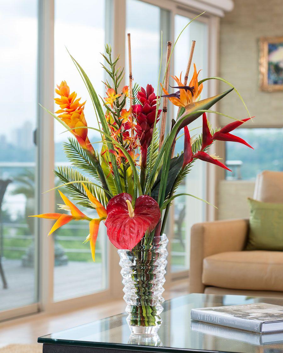 Faux Orchids Heliconiatropical Flower Arrangement Coastal Decor