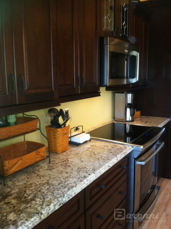 White Galaxy Granite with dark cabinets   For the Home   Pinterest ...