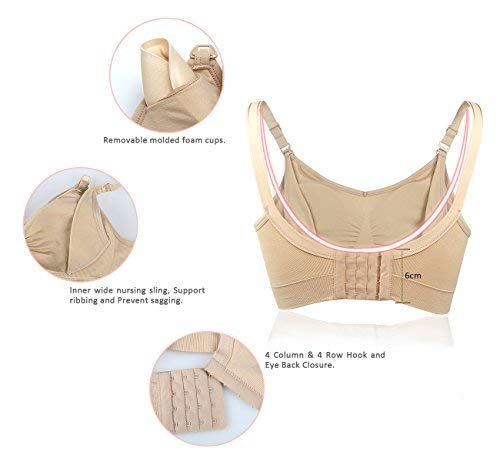 a1502262f1 iLoveSIA 3PACK Womens Full Bust Nursing Bra Seamless Maternity Bra Size 2XL  -- You could