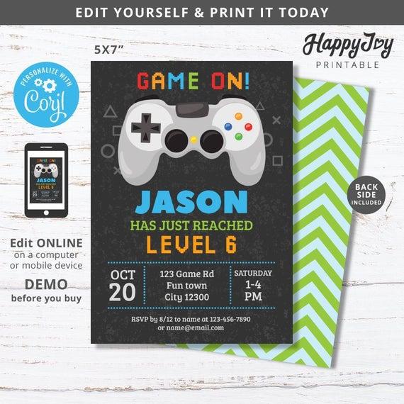 Console Game Party Invitation Boys Video Gaming Birthday Etsy In 2021 Video Games Birthday Party Video Games Birthday Birthday Games