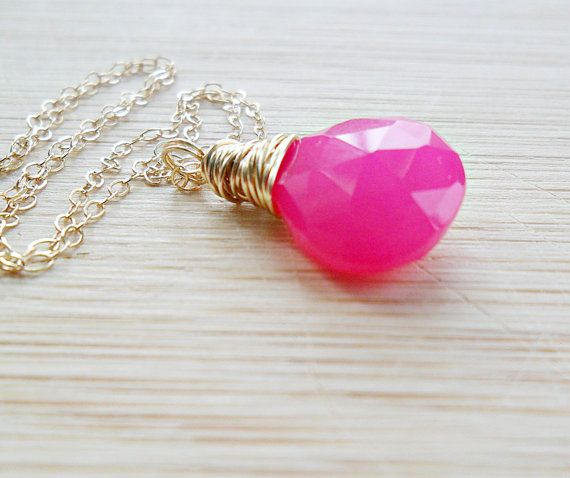 Hot Pink Necklace, AAA Hot Pink Chalcedony Gemstone 14k Gold Fill Fluorescent Neon Jewelry Gift For Womem Mothers Day SALE
