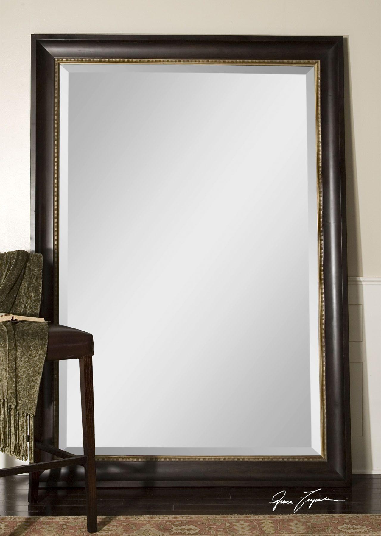 Axton Oversized Black Mirror | Oversized mirror, Dark mahogany and ...