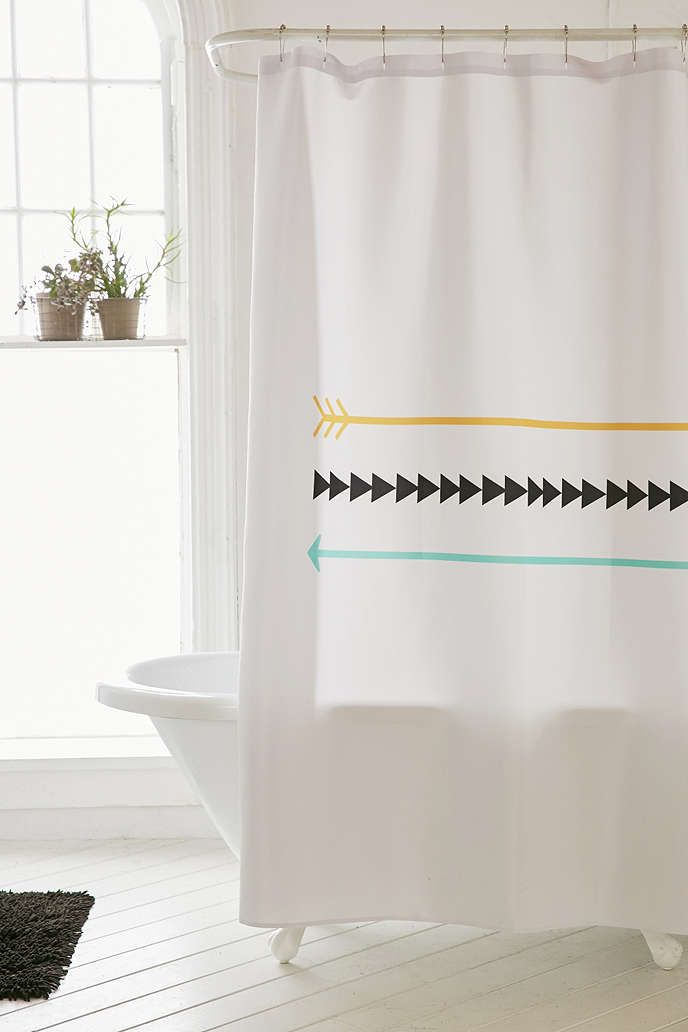 Tribal Ancient Ethnic Arrow Feathers Pattern Style Print Shower Curtain Set