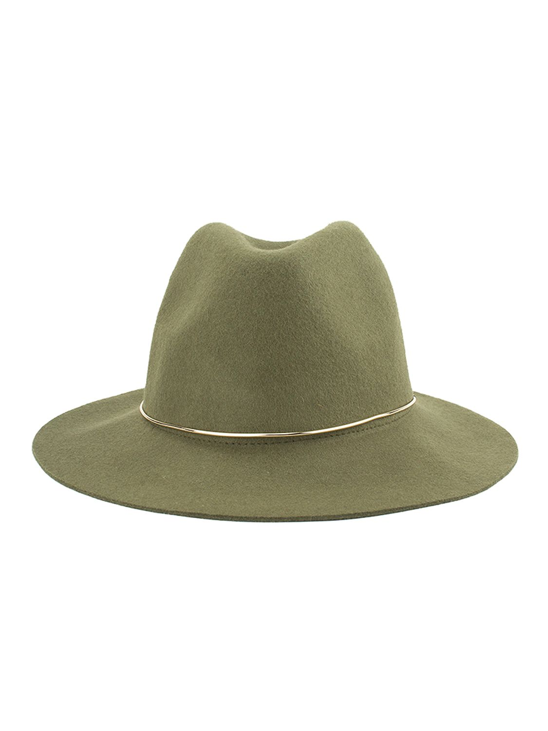 Buy Green Metal Band Embellished Wool Blend Fedora Hat from abaday.com, FREE shipping Worldwide - Fashion Clothing, Latest Street Fashion At Abaday.com