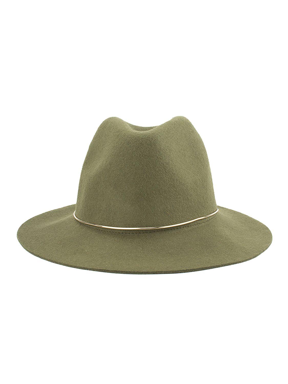 754eaa8fed Green Metal Band Embellished Wool Blend Fedora Hat | Headwear | Hats ...