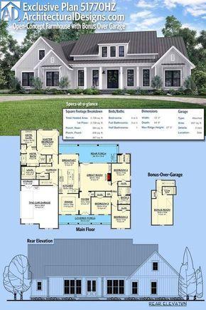 Plan HZ Open Concept Farmhouse with Bonus Over Garage