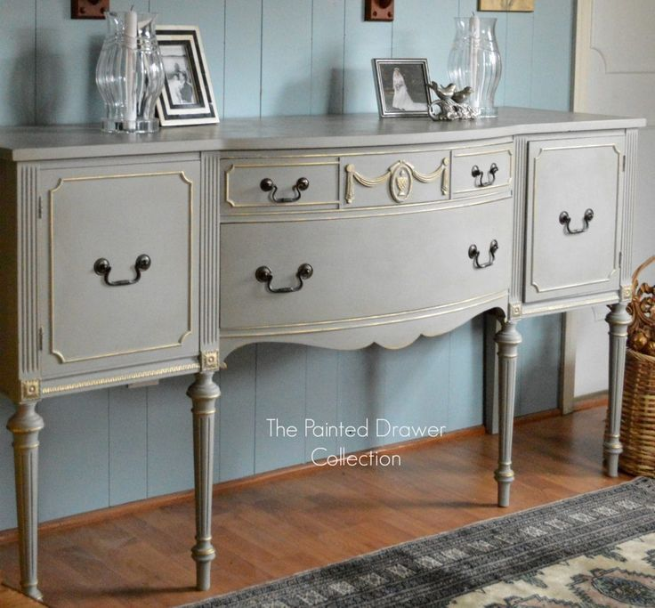 French Linen and Gold Sideboard Transformation  Before and After  is part of Gold painted furniture, Chalk paint furniture, Sideboard gold, French painted furniture, Annie sloan french linen, Painted drawers - The vintage sideboard that was last week's favorite find Monday is now featured as a before and after  Annie Sloan French Linen and Old White were used on this transformation!