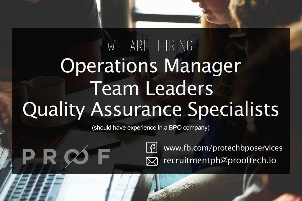 Quality Assurance Specialists Team Leaders Operations Manager