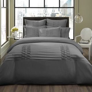 City Scene Triple Diamond Grey 3 Piece Duvet Cover Set With Optional European Sham Seperates
