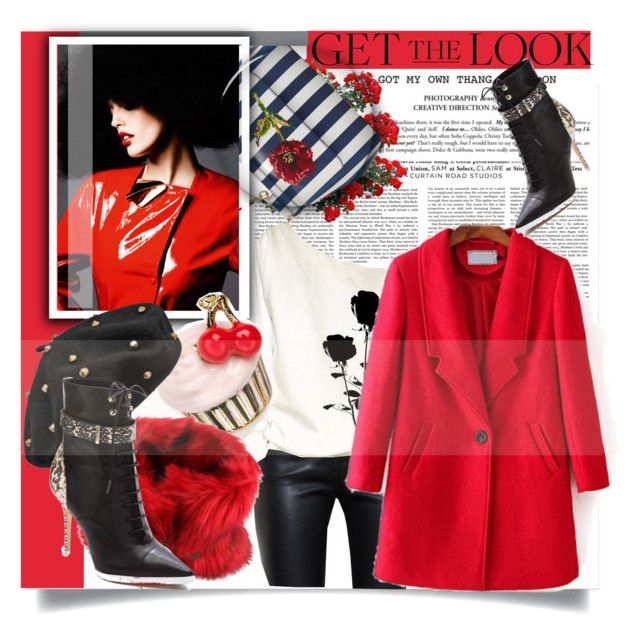 """#CoolCoat #GetTheLook #RedCoat"" by prigaut ❤ liked on Polyvore featuring Balenciaga, Dolce&Gabbana, Kate Spade, Diesel and Rachel Roy"
