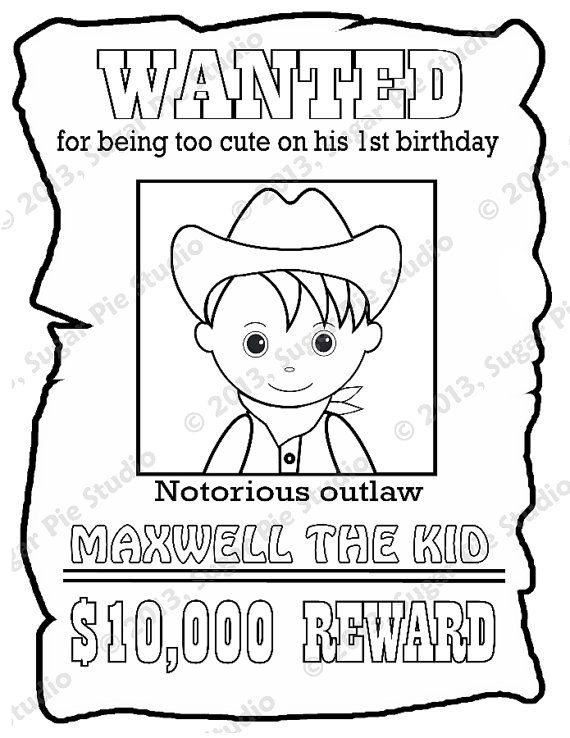 Personalized Printable Wanted Cowboy Poster Birthday Party Etsy Coloring Pages For Kids Coloring For Kids Business For Kids