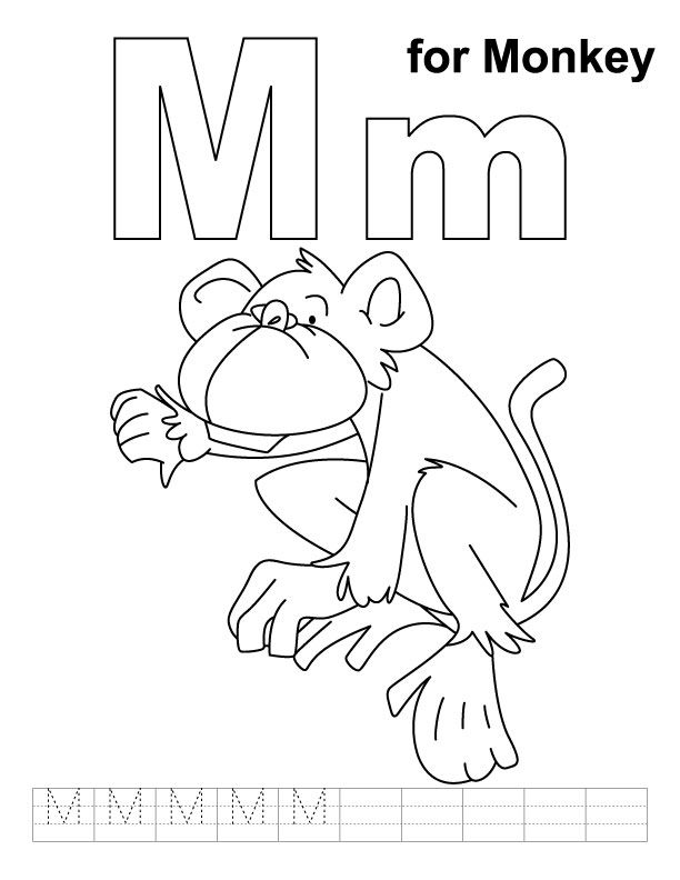 M For Monkey Coloring Page With Handwriting Practice  English