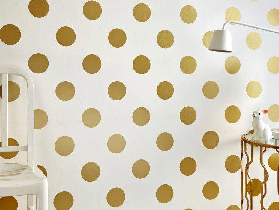 papier peint 100 intiss motif pois dor dotty d co maison pinterest intiss. Black Bedroom Furniture Sets. Home Design Ideas