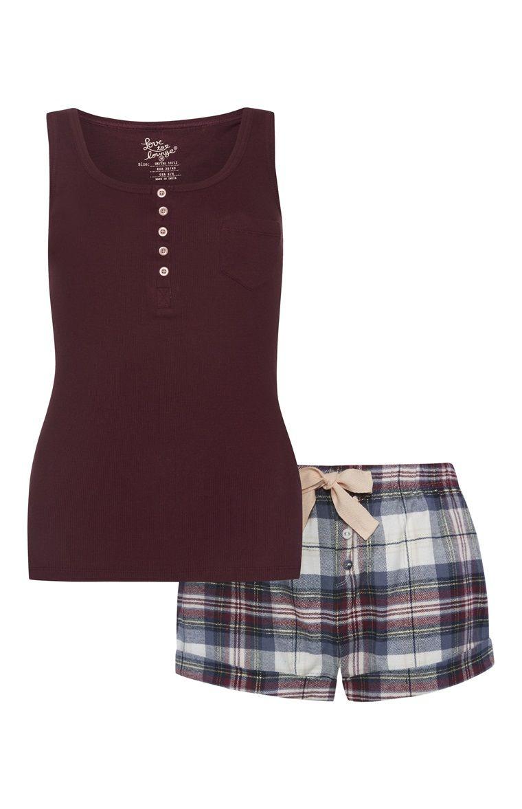 58a72783db63 Primark - Burgundy Check Vest And Short PJ Set