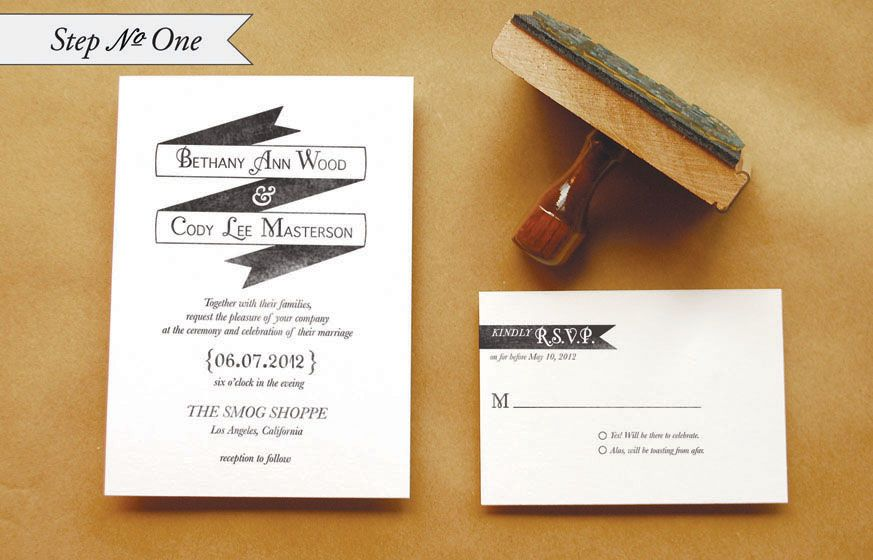 "Personalized Stamps For Wedding Invitations: DIY Rubber Stamp ""Banner"" Wedding Invitations"