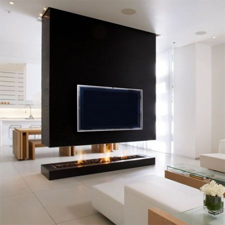 Fireplace tv wall room divider partition for open plan for Fireplace room divider