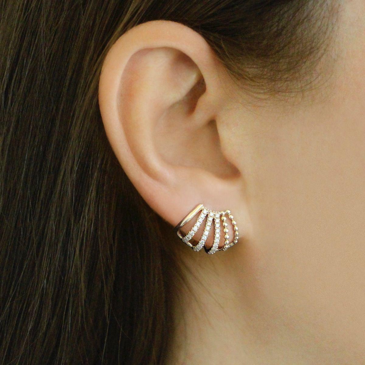 2nd ear piercing ideas  poppy rae white gold diamond huggies e  Bling it  Pinterest