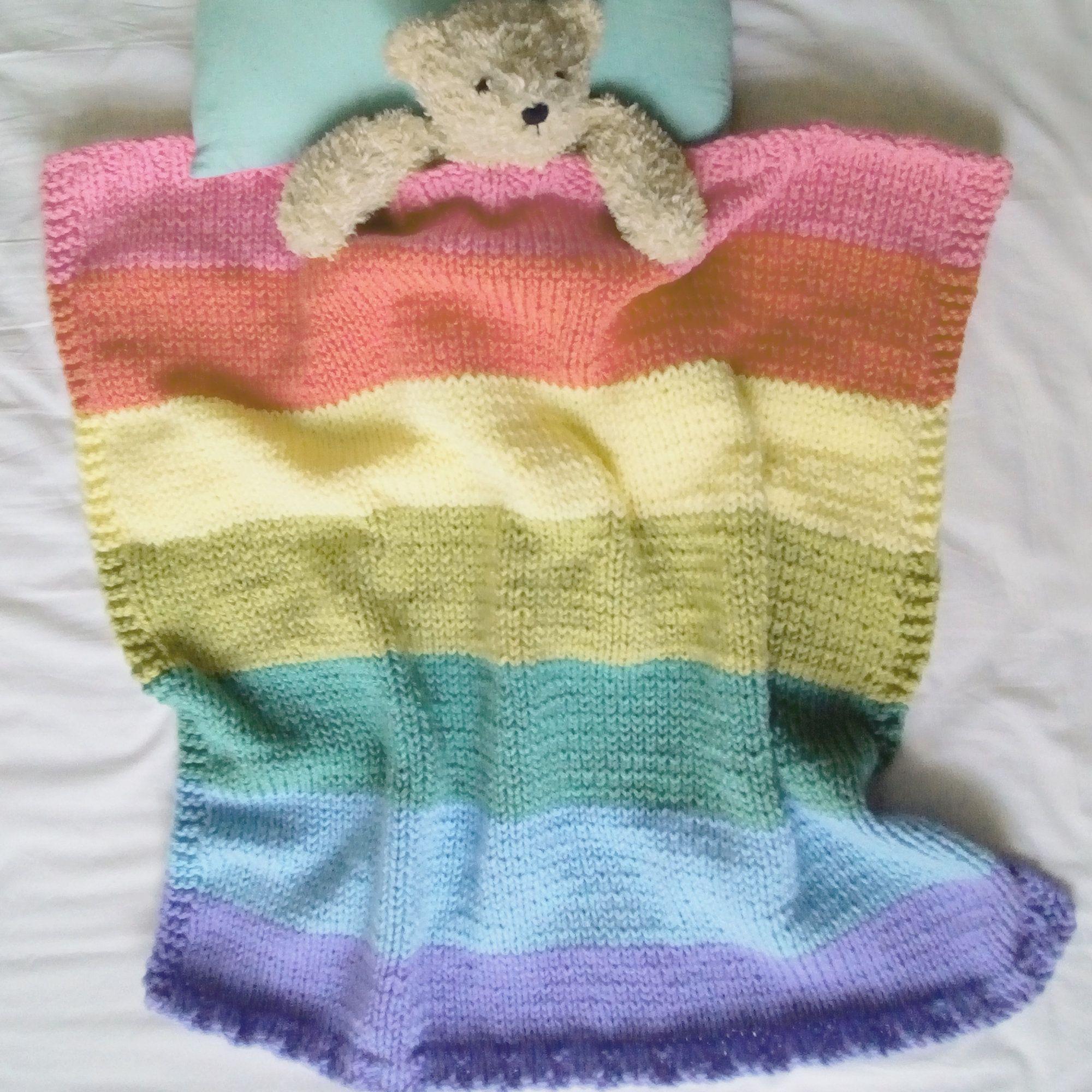 BABY BLANKET PATTERN: Easy knit rainbow baby blanket ...