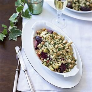Creamy root vegetable and chickpea crumble recipe. This delicious vegetable crumble is great for serving up as a vegetarian main course at Christmas.